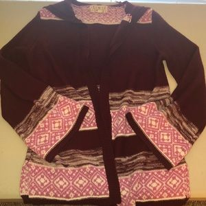Pink republic large hooded sweater Open Front